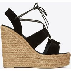 Saint Laurent Espadrille 95 Lace-Up Platform Sandal ($435) ❤ liked on Polyvore featuring shoes, sandals, woven shoes, rubber sole shoes, platform sandals, platform shoes and lace up shoes