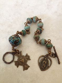 All Beautiful Catholic Beads: Past Rosary Bracelets Gallery Metal Jewelry, Beaded Jewelry, Vintage Jewelry, Handmade Jewelry, Fashion Bracelets, Jewelry Bracelets, Catholic Jewelry, Rosary Bracelet, Jewelery