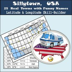 Sillytown, USA - 25 Real Towns with Funny Names - Latitude Social Studies Lesson Plans, 6th Grade Social Studies, Teaching Social Studies, Student Teaching, Teaching Tips, Us Geography, Map Skills, Latitude Longitude, Math Activities
