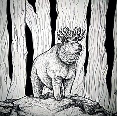 """The kind of the forest"". Made during inktober 2018 with ink pens using dot & line drawing/pointillism. Inspired by ancient Finnish mythology. Instagram: @ronjarikissa_art"