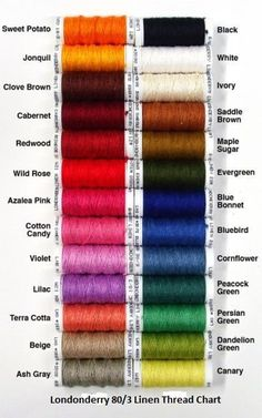 Linen Lace Threads for Bobbin lace - Londonderry Color Chart - Same as Goldshild, Golds Silk Thread Bangles, Thread Jewellery, Diy Jewelry Tools, Calligraphy Supplies, Calligraphy Pens, Bookbinding Supplies, Color Mixing Chart, Zardozi Embroidery, Beaded Jewelry Patterns