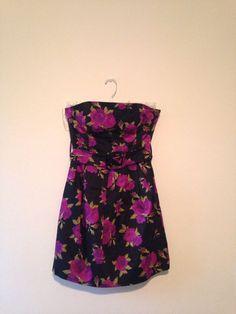 Forever 21 Purple Rose Black Strapless Dress Sz M  | eBay