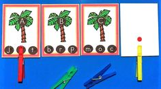 I just added some Chicka Chicka Boom Boom Alphabet Letter Matching Cards to 1 - 2 - 3 Learn Curriculum. :) Children will use clothes pins and match the lowercase letter on the coconut on the bottom to the uppercase letter in the tree.