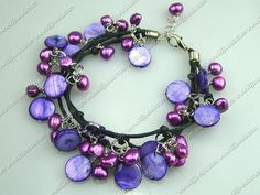 7 inches purple pearl shell bracelet with extendable chain