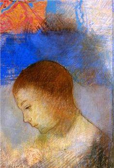 ♀ Painted Art Portraits ♀ Odilon Redon | Portrait of Ari Redon in Profile - Odilon Redon