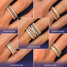 I like the middle one because of the eternity symbol band. Hate yellow gold. #Stacking Bands | heartsonfire.com