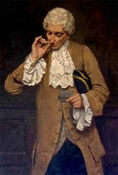 An 18th c. gentleman taking snuff.