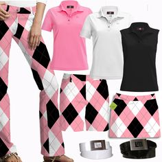 Pink & Black Argyle - #golf for women