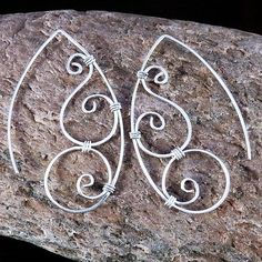 Spiral wire wrapped earrings by Witchwood on Etsy, $8.00
