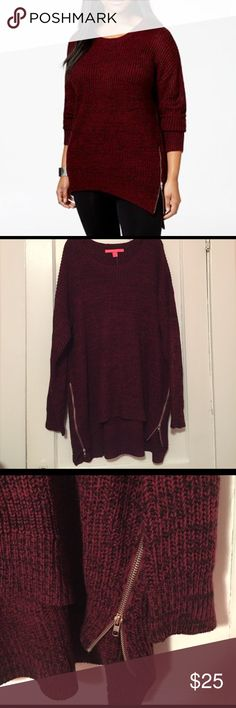 NWT Rebellious One Burgundy Zipper Sweater NWT Rebellious.One. Burgundy sweater with side zippers and it is a bit long like a tunic Rebellious One Sweaters Crew & Scoop Necks