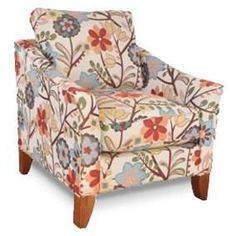 "33"" Floral Upholstered Accent Chair"