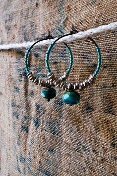 BEADED BOHO HOOPS  Dainty Turquoise Blue and por vintagefables