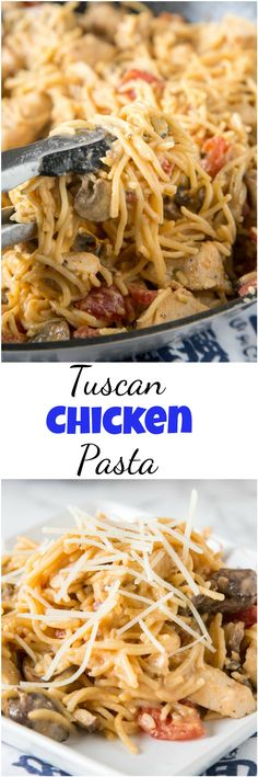 Creamy Tuscan Chicken Pasta - a super easy chicken pasta recipe that you can make any night of the week. Simple ingredients, just a few minutes, and dinner i
