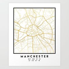MANCHESTER ENGLAND CITY STREET MAP ART -  An elegant city street map of Manchester, England in gold, with the exact coordinates of the city, make up this amazing art piece. A great gift for anybody that has love for this city. You can never go wrong with gold. I love my city.  graphic-design digital typography stencil illustration manchester england united-kingdom easter happy-easter rabbit easter-bunny eggs easter-art bunny-love Manchester Map, Manchester England, United Kingdom Map, Museum Of Childhood, Easter Art, Easter Bunny, London Museums, Building Art, National Portrait Gallery
