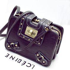 Fashion Female Tote Organ Punk Rivets Handbag Worn Locomotive Female Crossbody Bag Small Leather Women Messenger Shoulder Bag for just US $39.80
