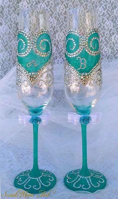 Flautas champagne para boda, flautas brindis, copas para celebraciones, copas para boda, flautas nupciales, regalo de bodas,flautas turquesa de SweetMoonArt en Etsy