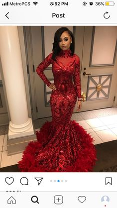 Red sequin and feather hemline mermaid long sleeve prom dress Black Girl Prom Dresses, Red Formal Dresses, Grad Dresses Long, Cute Prom Dresses, Prom Outfits, Prom Dresses Long With Sleeves, Prom Dresses For Sale, Prom Dresses Online, Mermaid Prom Dresses