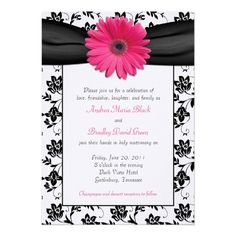 Black and White Floral Damask Wedding Invitation