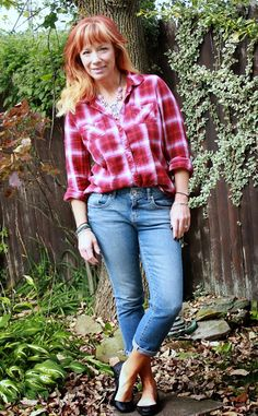 Fashion Fairy Dust plaid shirt, cropped skinny jeans, black ballet flats, statement necklace