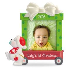 Beary Cute Baby's First Christmas Photo Holder Ornament