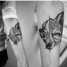 fox half skull tattoo