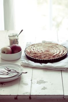 Thin Apple Tart & Linguine with Scallops and Roasted Beets from Tartelette. http://punchfork.com/recipe/Thin-Apple-Tart-Linguine-with-Scallops-and-Roasted-Beets-Tartelette