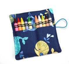 Crayon Rolls Party Favors Happy Whales crayon by FrogBlossoms, $3.00