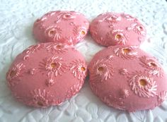 Pink buttons eyelet buttons fabric buttons by EmbellishedLife2, $3.00