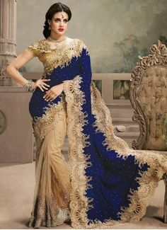 Admirable Crystal, Patch Border, Stone and Zari Net and Velvet Beige and Blue Designer Saree
