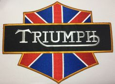 UK MOTORCYCLES  - CLASSIC UK MOTORBIKE EMBROIDERY IRON ON PATCHES - LARGE BACK PATCH