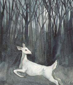 Original Watercolor Deer Painting  Ghost Doe by bluedogrose, $155.00