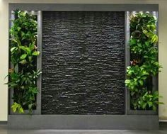 Water feature with greenery Vertical Garden Wall, Vertical Gardens, Water Walls, Walled Garden, Interior Garden, Room Interior, Stone Interior, Interior Design, Backyard Landscaping