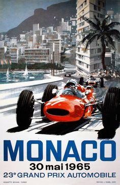 France - Monaco - Grand Prix Automobile - (artist: Turner c. - Vintage Advertisement Fine Art Print, Home Wall Decor Artwork Poster) Car Posters, Travel Posters, Poster Poster, Print Poster, Course Vintage, Montecarlo Monaco, Course Automobile, Photo Vintage, Retro Vintage