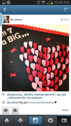 Valentine bulletin board big heart made from little hearts
