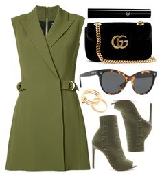 """""""Green"""" by smartbuyglasses ❤ liked on Polyvore featuring Balmain, Steve Madden, Gucci and GREEN"""