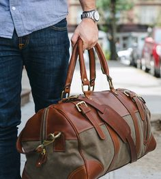 This waxed canvas duffel bag. is especially rugged, and the wax treatment makes it water-resistant.