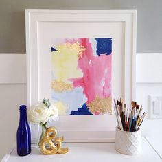 Our Color Splash print is so fun with a modern color palette of navy, coral and yellow, and trendy gold leaf accents! This print is a perfect way