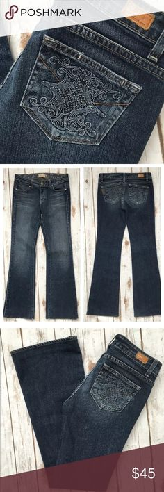 """Paige Premium Jeans Hollywood Hills Moonshadow Tag Size - 27 Waist Measured Across - 15"""" Inseam - 32"""" Rise - 8"""" Great used condition. The cuffs have been hemmed. Paige Jeans Jeans Boot Cut"""