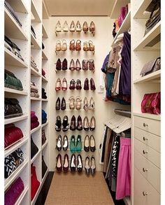 Use wired shoe shelving on the wall to hang heels off of
