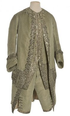 Coat, vest, and breeches, French, c. 1760. Patterned velvet embroidered with sequins, spangles, and silver thread.