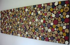Rustic Modern Painted Sliced Wood Wall Sculpture. Love these colors!