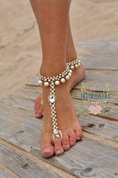 Beach Wedding Barefoot SandalsBridal Pearl Beaded by deformatas Bridal Sandals, Bridal Shoes, Wedding Shoes, Bridal Jewelry, Beaded Jewelry, Pearl Sandals, Jewellery, Beach Foot Jewelry, Groom Shoes