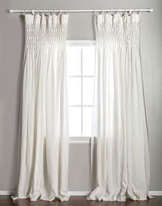 pom pom at home smocked curtain panel white linen