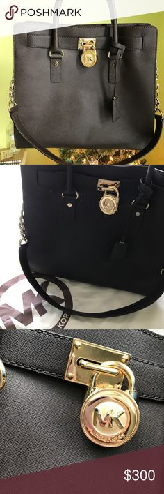 Michael Kors Large Hamilton Satchel This is a dark chocolate brown bag, it was a gift that was never been used I just took the tags off thinking I would use it, there is absolutely no wear it is like new. It will also come with the original dust bag! Michael Kors Bags Satchels