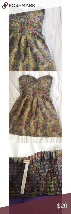 Free People Dress Free People Dress.  Brocade type fabric, floral print.  Women's size 2.  Great condition.  Elastic panel in back. Free People Dresses