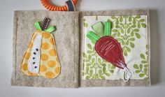 Quiet book - Fruits and vegetables sensory fabric book for baby - Made to order