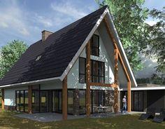 Woning Bongers Architecten BNA Modern Wooden House, Wooden House Design, Modern Houses, Barn Living, Exterior Paint Colors For House, Villa, A Frame House, Roof Design, Modern Exterior