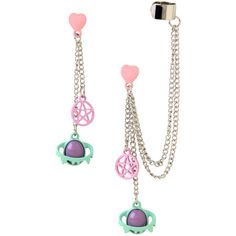 Hot Topic Pastel Pentagram Planets Drop Earring And Cuff Set (£5.22) ❤ liked on Polyvore featuring jewelry, earrings, multi, charm earrings, dangle earrings, cuff jewelry, cosmic jewelry and drop dangle earrings