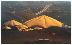 Christo-Umbrellas. i sat and had lunch under one of these when it was up, amazing.
