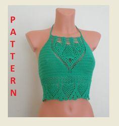 Crochet Halter Tops, Crochet Bikini Top, Crochet Blouse, Bustiers, Diy Crochet, Crochet Top, Crotchet, Crochet Pattern, Bikini Pattern